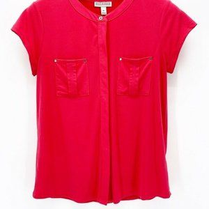 Dana Buchman Womens Blouse Pink Stretch Top M